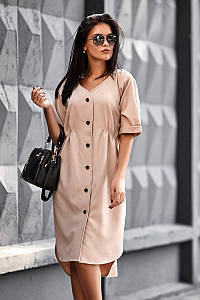 (S, M, L) Повсякденне бежеве плаття Jazelin