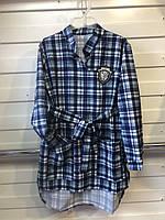 Подростковоеплатьес поясом в клетку для девочки от 6 до 9 лет синее воротник рубашкой