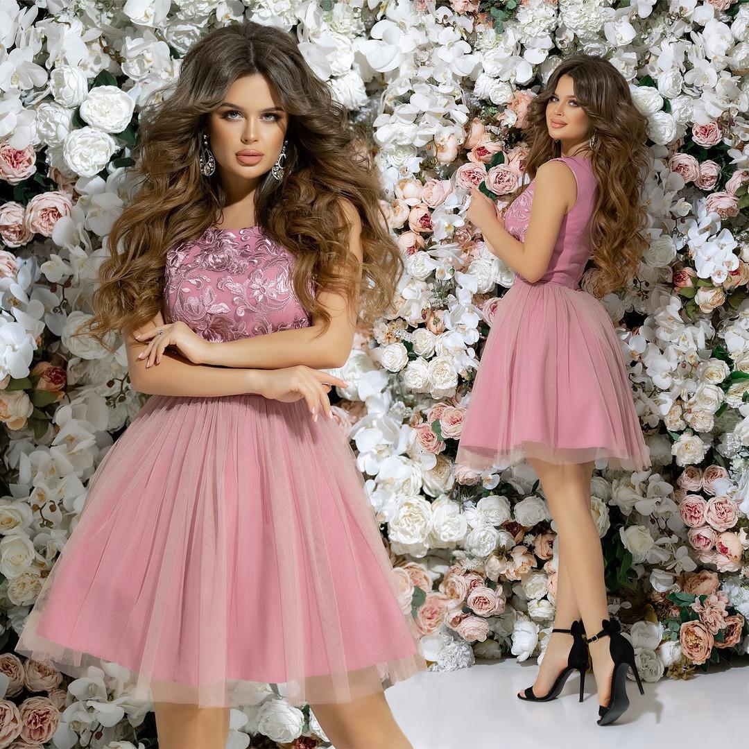 aece8ba0ab651f5 ... Женское вечернее короткое платье с пышной юбкой 42,44,46р (7расцв) ...