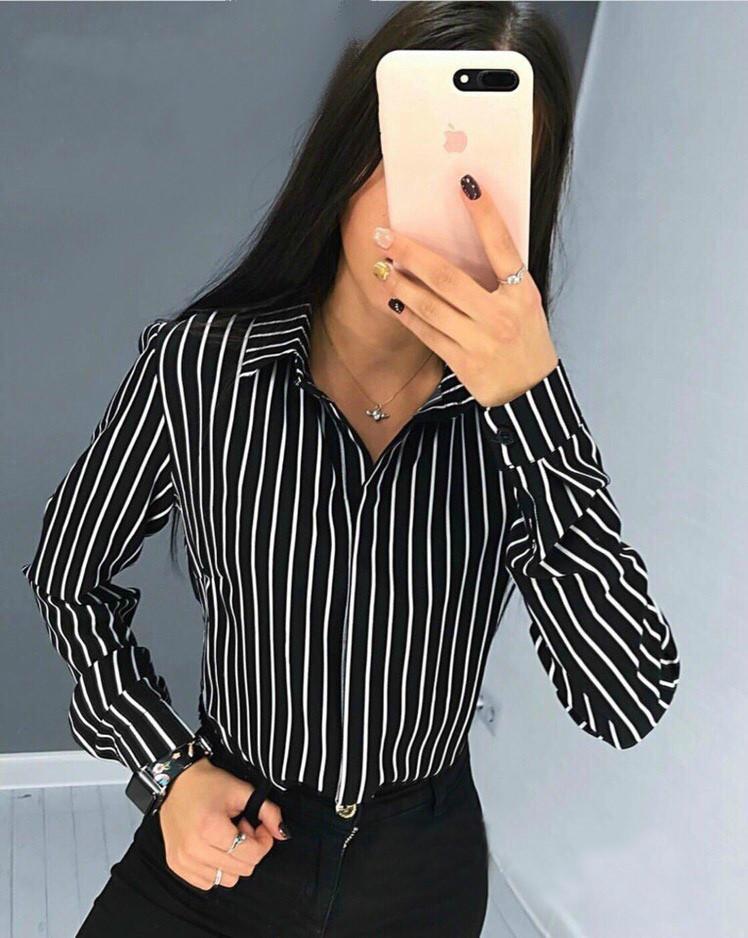 80b77cea59d Стильная женская легкая блузка в полоску с длинным рукавом