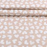 """Отрез ткани шириной 220 см """"Разносторонние сердечки 35 мм"""" белые на бежевом (№1917), размер 59*220, фото 2"""