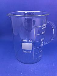 Стакан лабораторный низкий мерный с ручкой 600 мл,Boro3.3