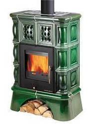Печь камин для дома с водяным контуром Haas+Sohn Treviso зеленая (кафельная ножка)