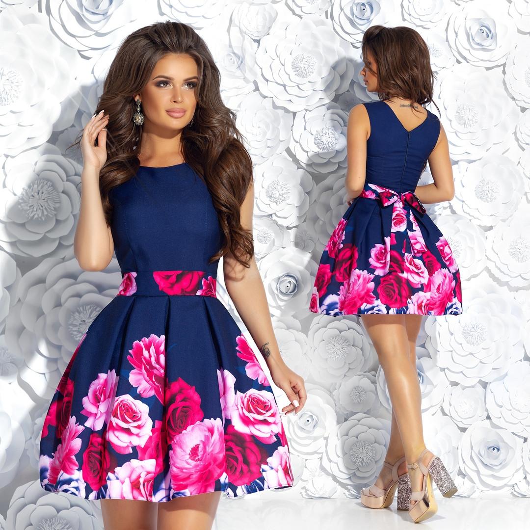 Очень красивое вечернее платье с цветным принтом 42,44,46р