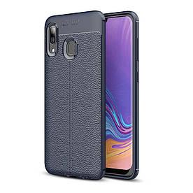 Чехол накладка для Samsung Galaxy A40 A405FD силиконовый, Фактура кожи, темно-синий