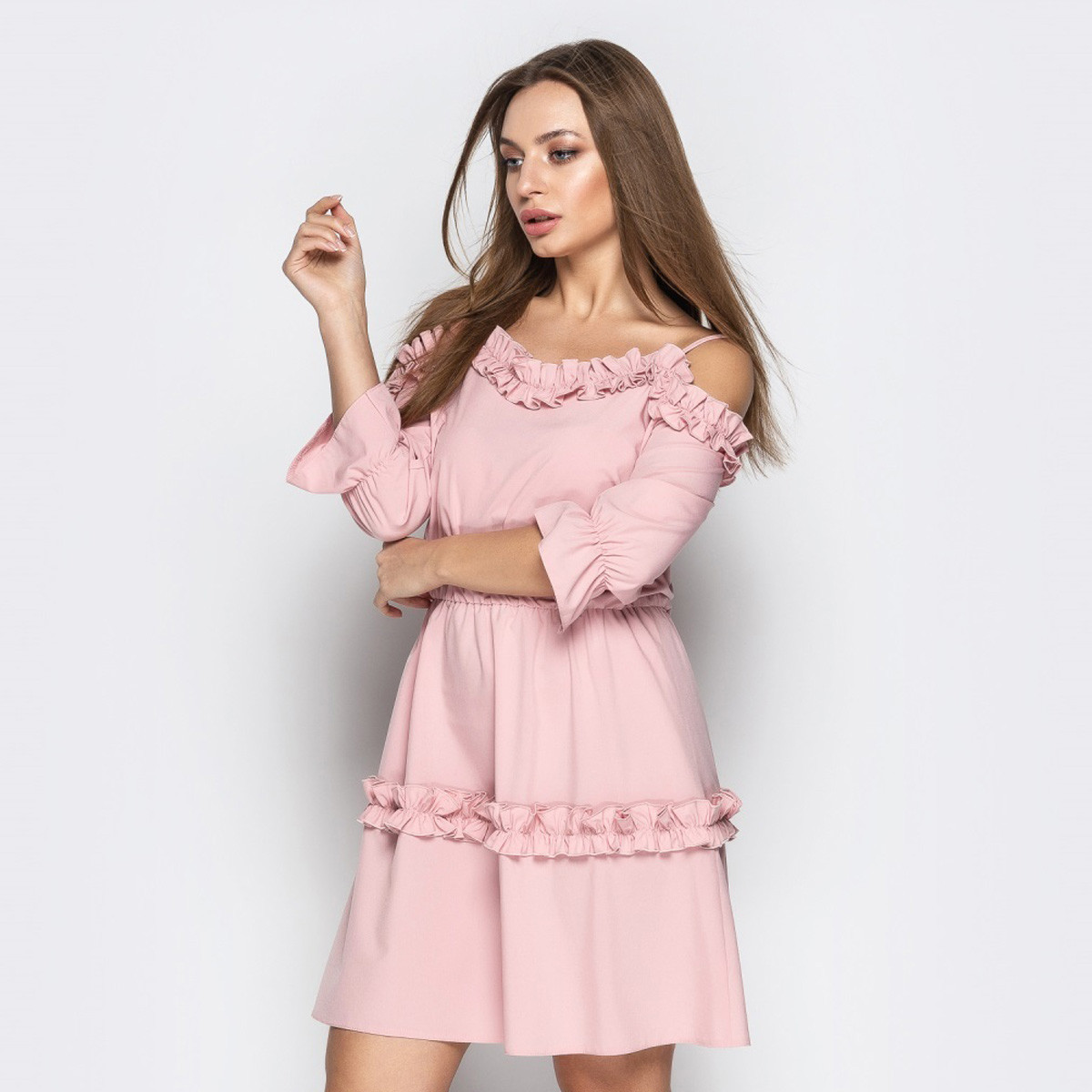"Молодежное платье-сарафан короткое пудра ""Эмма"""