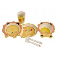 Набор детской бамбуковой посуды Eco Bamboo fibre kids set 5 предметов MH-2775, львенок