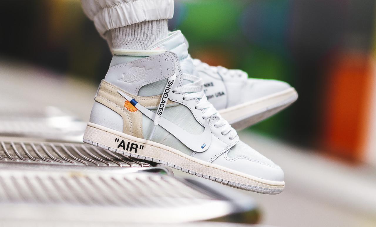 Мужские кроссовки в стиле Nike Air Jordan 1 off-white (Реплика ААА+)