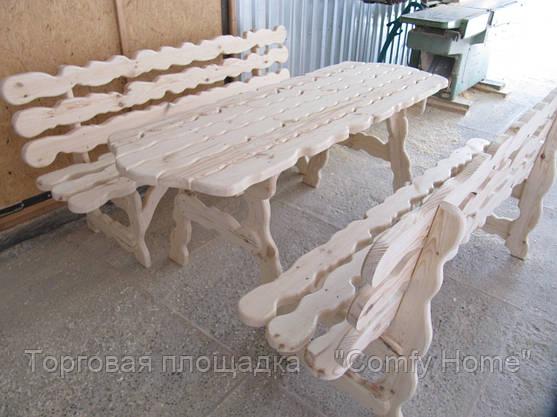 Стол с лавками деревянный (резной), фото 3