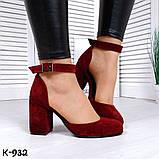 Эффектные бордовые замшевые женские туфли на каблуке, фото 3