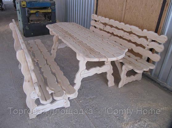Стол с лавками деревянный (резной), фото 2