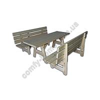 Стол с лавками деревянный (прямой)