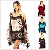 Женский бархатная пижама тройка 18745