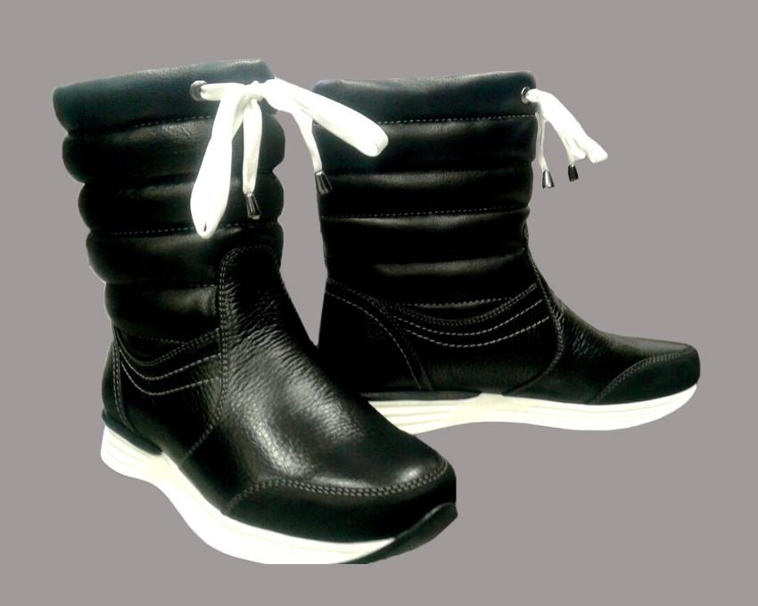 """Зимние кожаные полусапоги женские """"дутики"""" / women's shoes boots s-24"""
