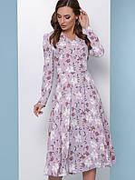Женское цветочное платье-миди с длинным рукавом (1815mrs)
