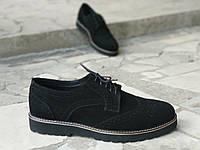 Туфли броги мужские черные натуральная замша, фото 1