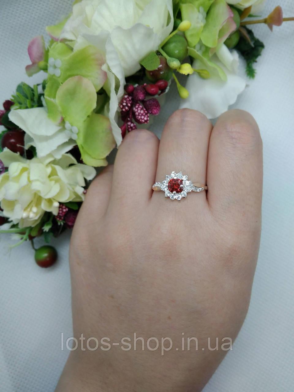 "Серебряное кольцо с золотыми пластинами""Жасмин"""
