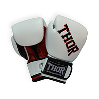 Перчатки боксерские штучная кожа THOR RING STAR (PU) WHITE-RED-BLK прочные, белого цвета