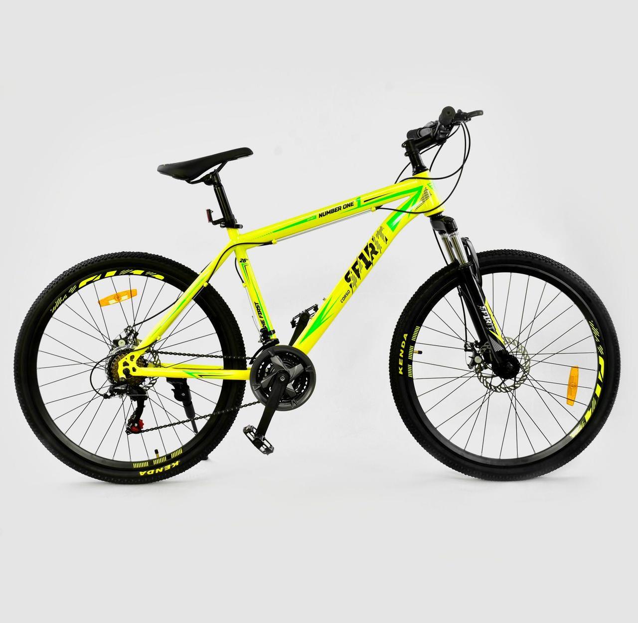 """Велосипед Спортивный CORSO SPIRIT 26""""дюймов JYT 001 - 719 YELLOW рама металлическая, 21 скорость"""