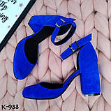 Эффектные замшевые женские туфли на каблуке, фото 6