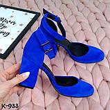 Эффектные замшевые женские туфли на каблуке, фото 7