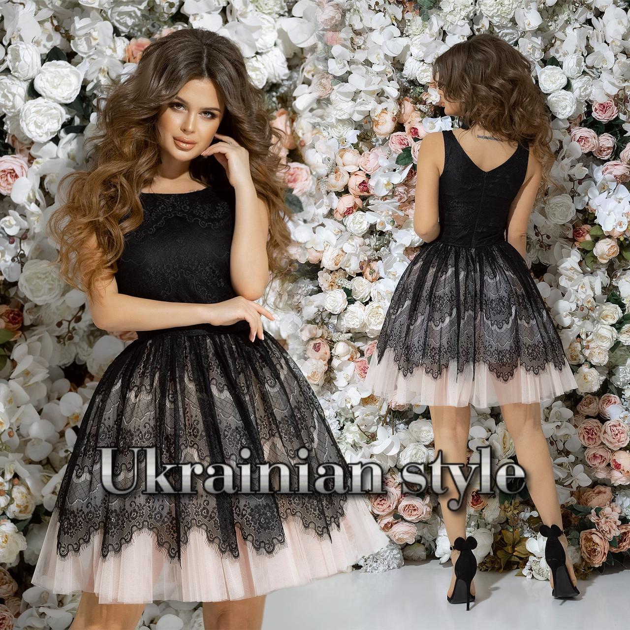 38b4d9a4b8d Короткое вечернее платье с пышной фатиновой юбкой. 3 цвета!  продажа ...