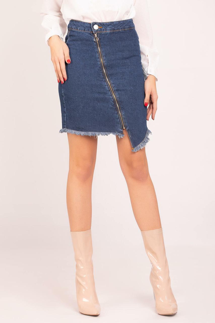0ba1fe05a90 Асимметричная джинсовая юбка мини с молнией и бахромой - motus в  Ивано-Франковске