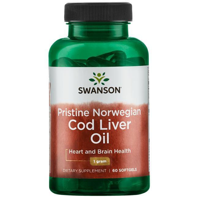 Swanson EFAs Pristine Norwegian Cod Liver Oil рыбий жир печень дикой трески (Норвегия)  60 капс