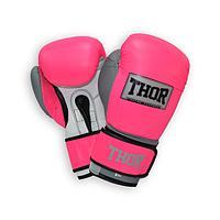 Перчатки боксерские кожаные THOR TYPHOON (Leather) PINK-GREY-WHT прочные, розового цвета