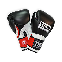 Перчатки боксерские кожаные THOR PRO KING (Leather) BLK-RED-WHT прочные, черного цвета