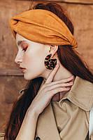 Замшевая повязка на голову чалма кирпичного цвета