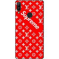 Бампер силиконовый чехол для Huawei Y6 Pro 2019 с рисунком Supreme LV на красном фоне
