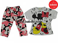 """Летний модный комплект для девочек футболка+бриджи  """"Минни и Микки Маус"""" 1, 2, 3 года.Турция!!! Хит сезона!!!"""