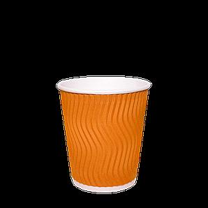 Стакан  гофрований  (ПОМАРАНЧЕВИЙ)  180мл. 30шт/рук; 35рук/ящ; 1050шт/ящ, (КР72)