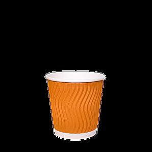 Стакан  гофрований  (ПОМАРАНЧЕВИЙ) 110мл. 30шт/рук; 48рук/ящ; 1440шт/ящ