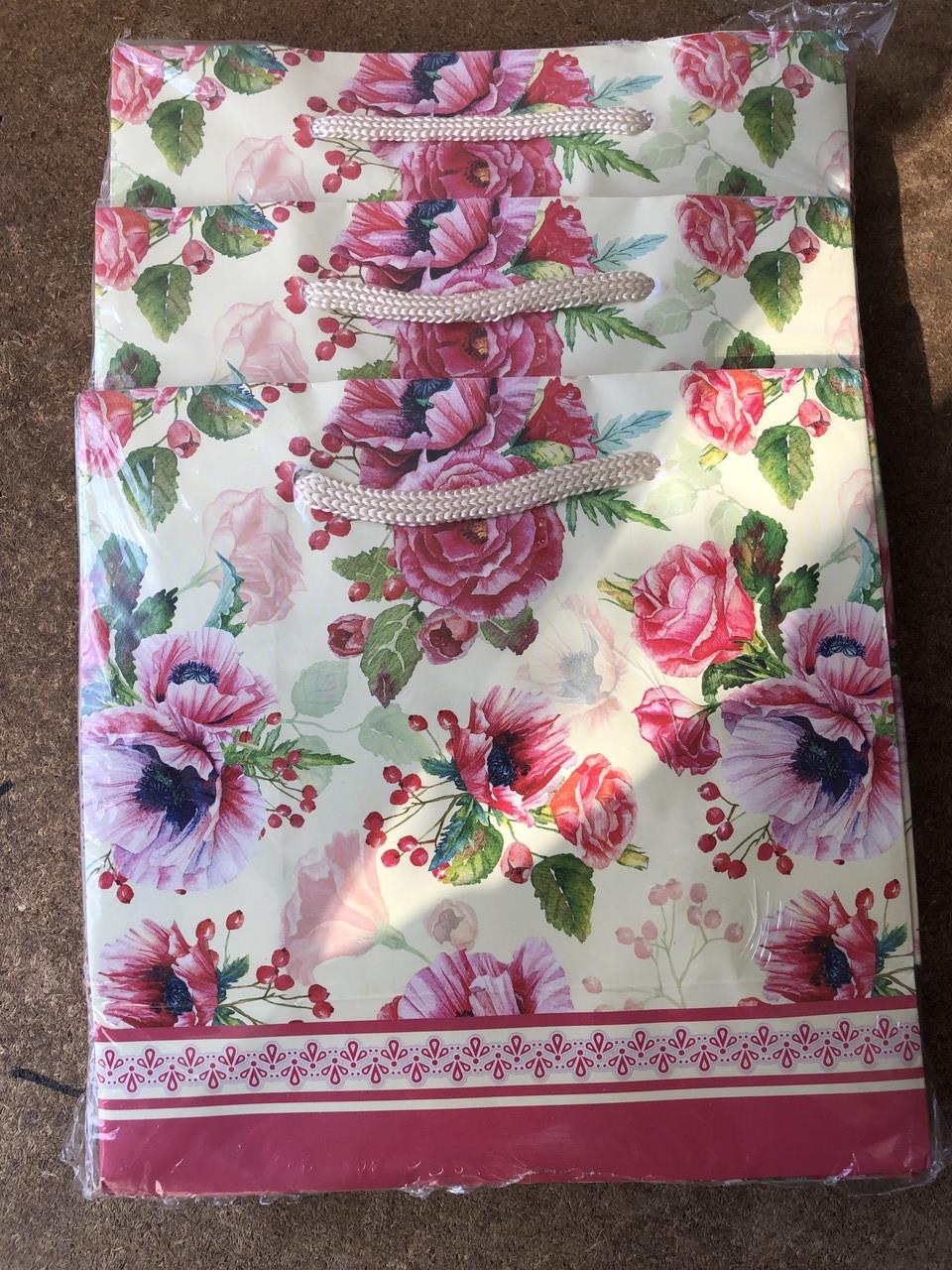 Подарочный бумажный пакет ЧАШКА 16*16*8 см Цветы