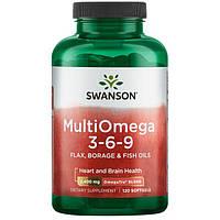 Swanson EFAs MultiOmega 3-6-9 Omega 3-6-9  рыбий жир + масла льняное и огуречной травы, 120 ЖК