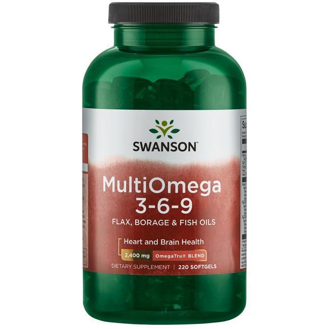 Swanson EFAs MultiOmega 3-6-9 Omega 3-6-9  рыбий жир + масла льняное и огуречной травы, 220 ЖК