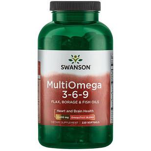 Swanson Нжк MultiOmega 3-6-9 Omega 3-6-9 риб'ячий жир + лляна олії і огіркової трави, 220 РК