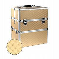 Косметический двухсекционный кейс для мастера маникюра золотой