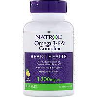 Omega 3-6-9  Natrol рыбий жир + масла льняное и огуречной травы , с лимоном 90 ЖК