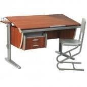 Стол СУТ.15 + Полка задняя СУТ.15.210 (2 шт.) + Стул СУТ.01 яблоня/серый (пластик)