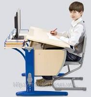 Растущая деревянная парта Стол СУТ.14 + Полка задняя СУТ.14.210 + Стул СУТ.01 (пластик)