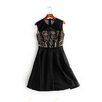 Платье вечернее черное с кружевом, вышивкой и бисером в наличии