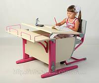 Стол СУТ.14 + Полка задняя СУТ.14.210 + Стул СУТ.01 клен/розовый (пластик)