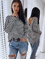 Женская удобная и очень приятная кофточка  с длинным рукавом в чёрно-белую или красно- белую полоску
