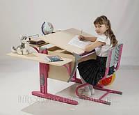 Стол СУТ.14 + Полка задняя СУТ.14.210 + Полка навесная СУТ.14.230 + Стул СУТ.01 клен/розовый