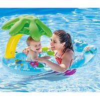 Плотик с навесом для детей от 1 годика. Детский надувной, водный плот, матрас Интекс для плавания
