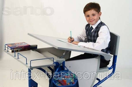 Стол СУТ.14 + Полка задняя СУТ.14.210 серый/синий, фото 2
