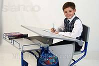 Стол СУТ.14 + Полка задняя СУТ.14.210 + Стул СУТ.01 серый/синий (пластик)
